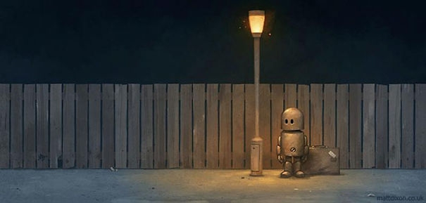 06-Matt-Dixon-Illustrations-of-Lonely-Robots-Experiencing-The-World-www-designstack-co