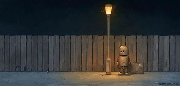 06-Matt-Dixon-Illustrations-of-Lonely-Robots-Experiencing-The-World-www-designstack-co