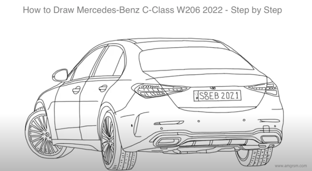 How to Draw Mercedes-Benz C-Class W206 2022 - Step by Step