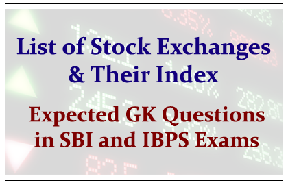List of Important Stock Exchanges and Their Index