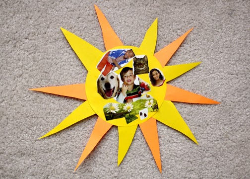 Tessa cut out pictures from magazines to make a collage of things that depend on the sun to survive.