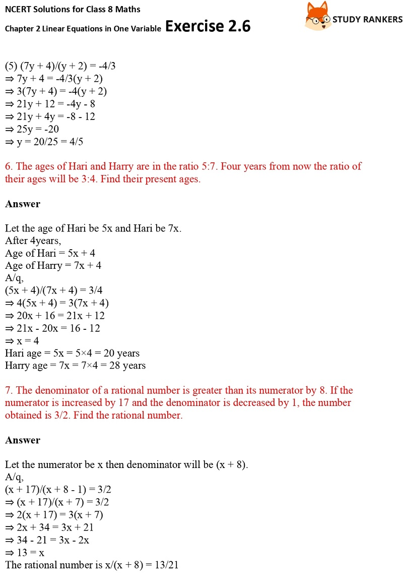 NCERT Solutions for Class 8 Maths Ch 2 Linear Equations in One Variable Exercise 2.6 2