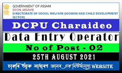 Data Entry Operator under DCPU Charaideo