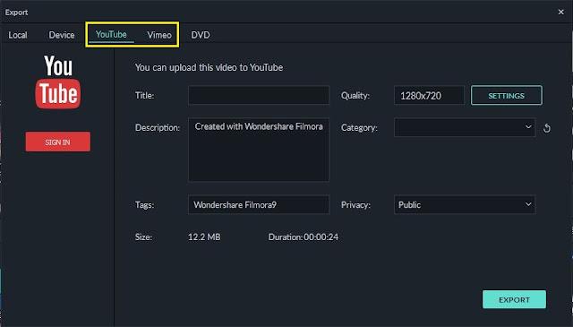 Ekspor video ke youtube di filmora versi 9