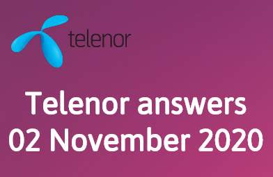 Telenor Quiz 2 November 2020 || Telenor answers 2 November 2020
