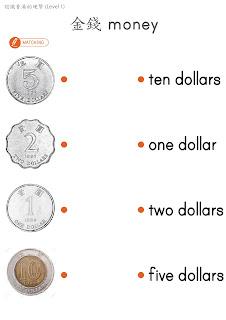 """Mama Love Print 自製工作紙  - 認識香港的錢幣 Level 1 - 認識 """"元""""  $1, $2, $5, $10  Hong Kong Money Worksheets for K1 K2 Kindergarten Children Learning Money Concept"""