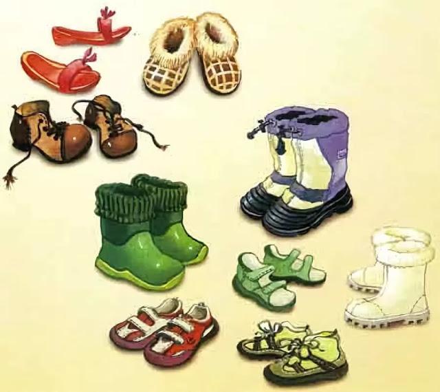 Летняя обувь картинки для детей с названиями