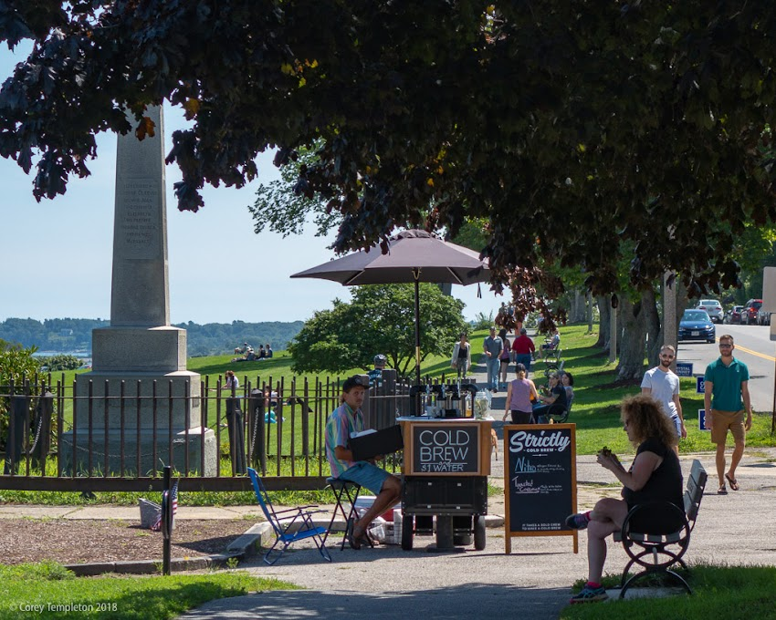 Portland, Maine USA August 2018 photo by Corey Templeton. Stopping to smell the coffee (Strictly Cold Brew) on the Eastern Promenade.
