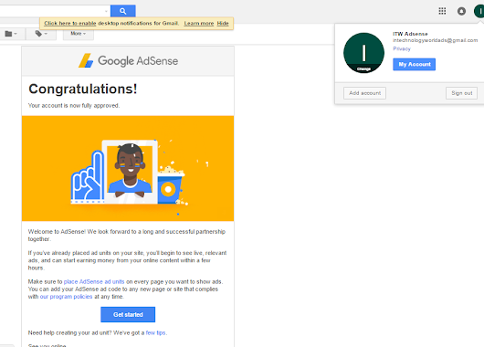 Congratulation To Myself. Google Approved My Google Adsense Request Completely