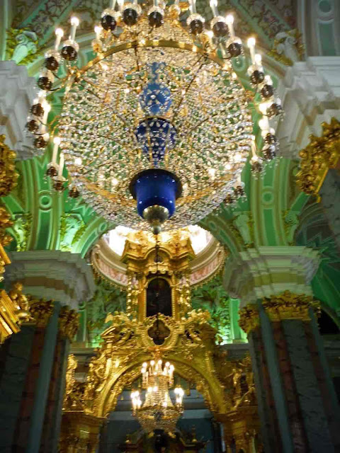 Ornate interiors of Saints Peter and Paul Cathedral, St. Petersburg