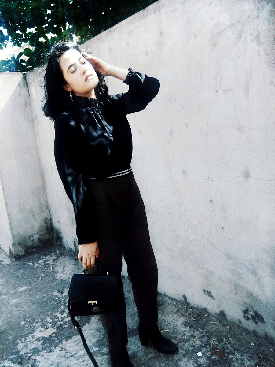 Mango Black blouse, Khaki Trousers, Mango Black Boots, Zara bag, thestylepanorama, indian fashion blog, dheerajoshi
