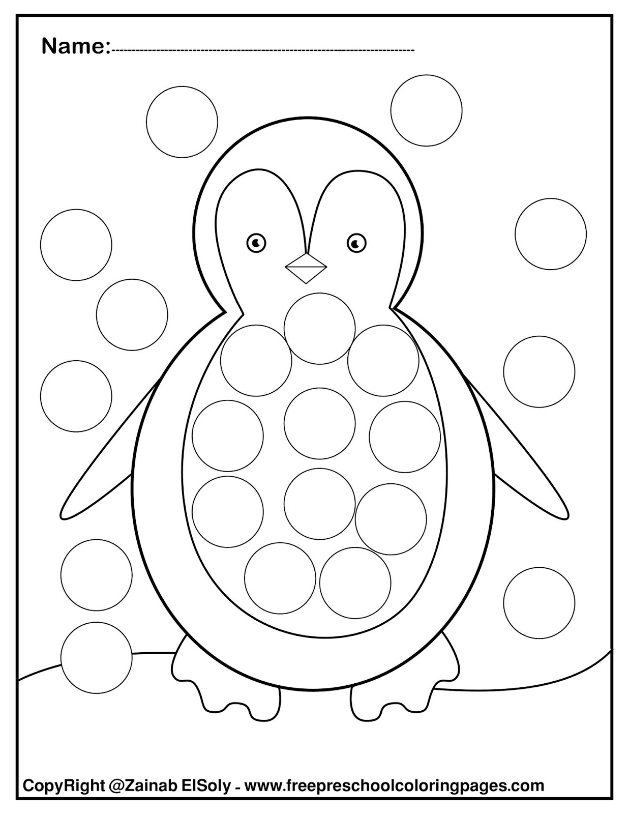 Set of Winter Dot Marker free pages for kids