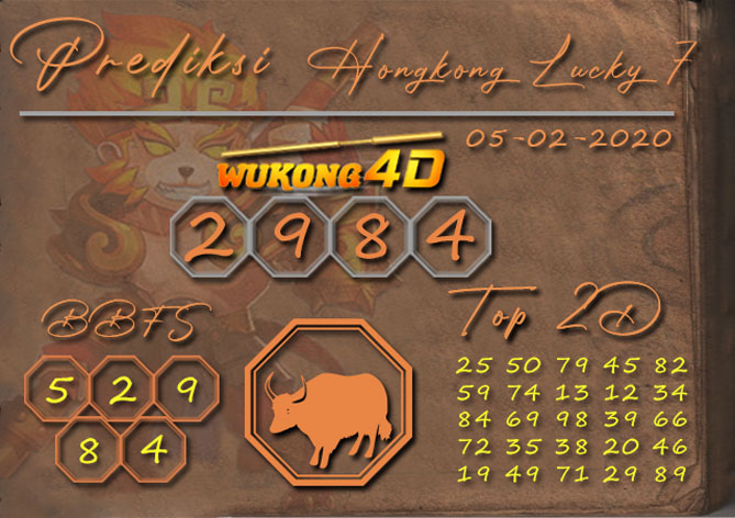 Prediksi Togel HONGKONG LUCKY 7 WUKONG4D 05 FEBRUARI 2020