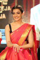 Kajal Aggarwal in Red Saree Sleeveless Black Blouse Choli at Santosham awards 2017 curtain raiser press meet 02.08.2017 047.JPG