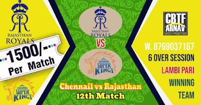 12th Match RR vs CSK IPL 2021 Today Match Prediction 100% Sure Winner