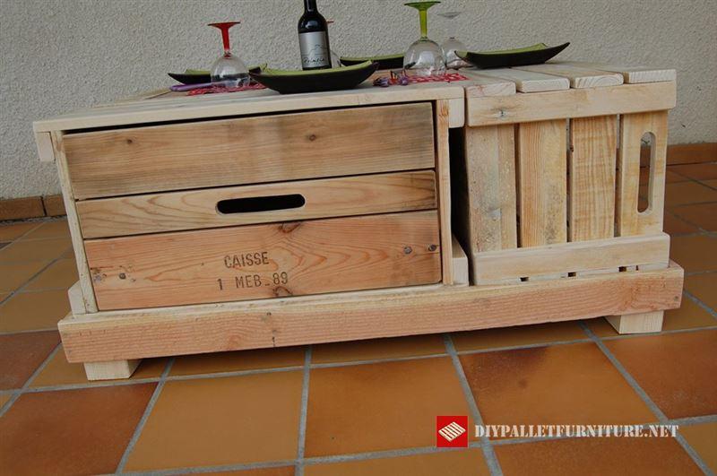 Mesa baja con cajas de madera - Mesas con cajas de madera ...