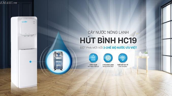 Cây nước nóng lạnh hút bình Karofi HC19 tự động làm nóng và lạnh nước uống: Tiện lợi, đơn giản cho người sử dụng