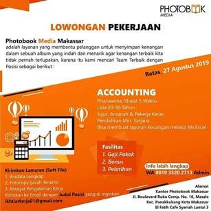 Lowongan Kerja Accounting di Photobook Media Makassar