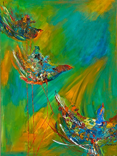 candace french abstract art abstract mixed media bird art painting