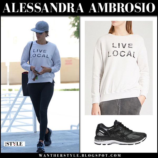 Alessandra Ambrosio in white sweatshirt sundry and black leggings casual style february 24