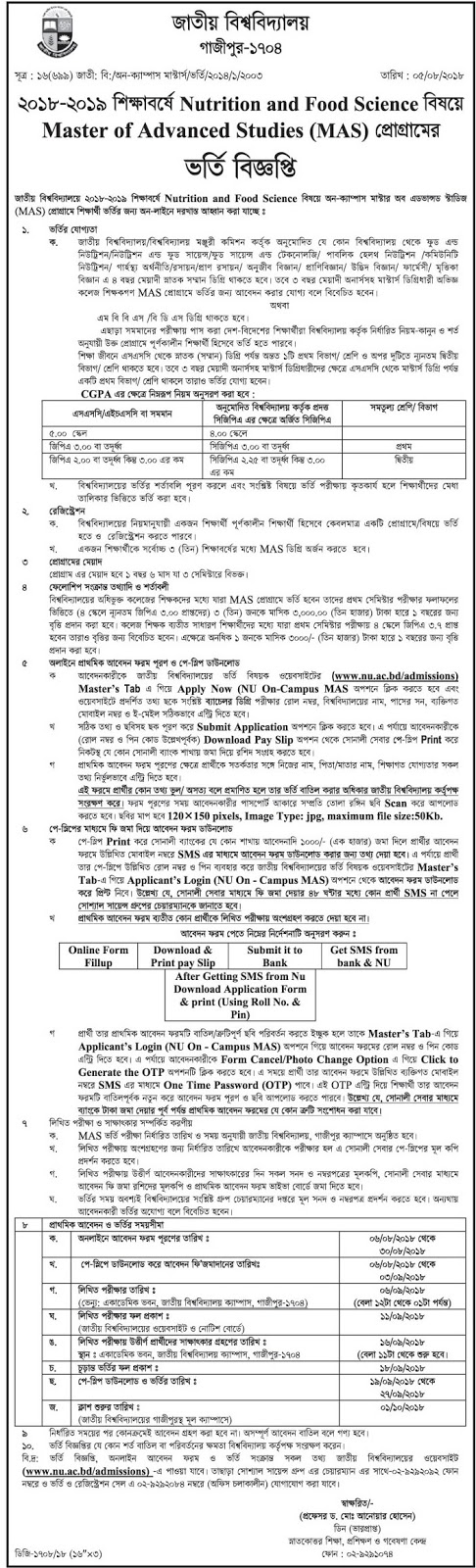 National University Master of Advanced Studies (MAS) Nutrition and Food Science admission Circular 2018-19