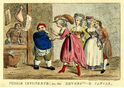 Female influence; or the Devons-e canvas  published by William Wells (1784) © British Museum