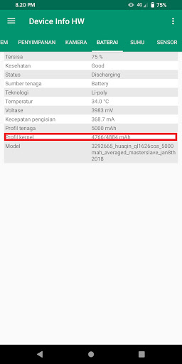 Cek kesehatan baterai pakai Device Info HW