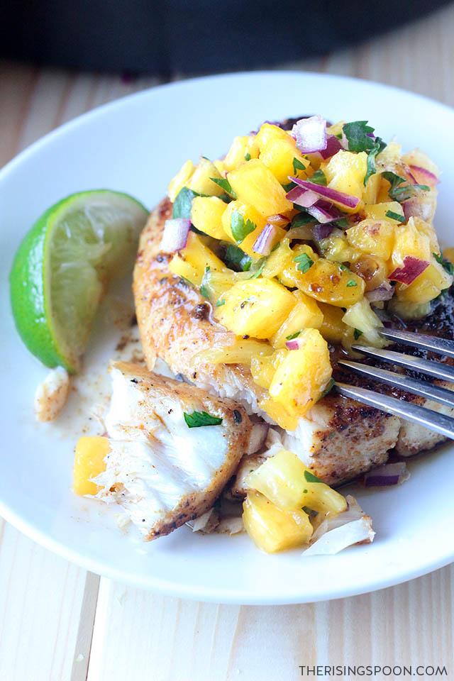 Easy, Healthy, Cheap & Quick Fish Recipe: Pan-Seared Mahi Mahi with Pineapple Salsa