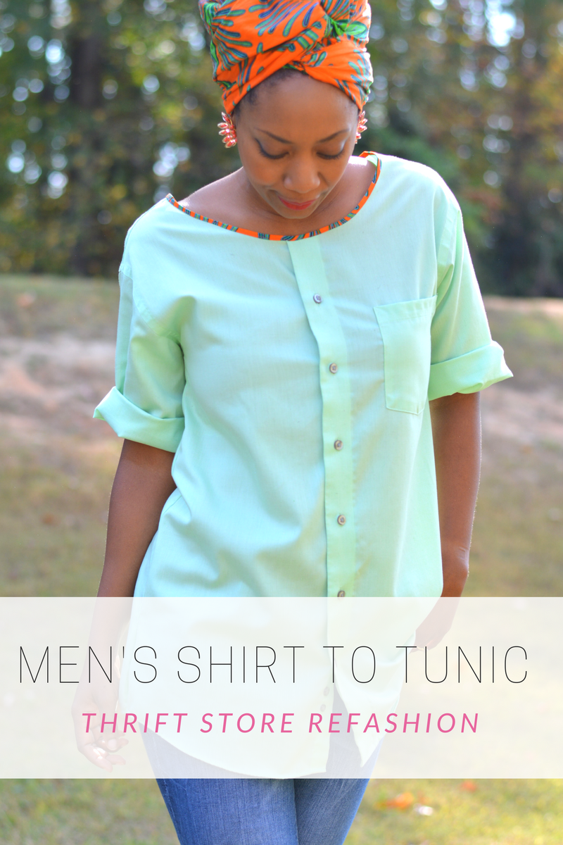 diy men's button up shirt into a tunic top