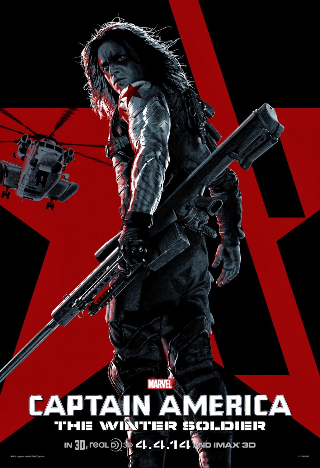 Captain America The Winter Soldier IMAX Character One Sheet Movie Poster Set - Sebastian Stan as The Winter Soldier