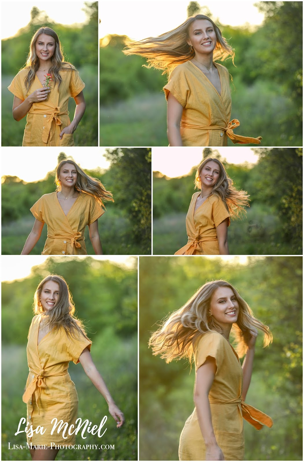 teen girl twirling in yellow dress in field