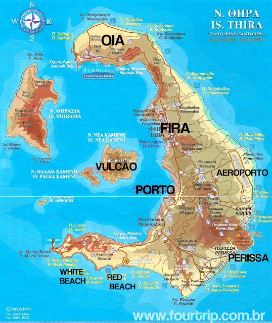 Mapa da Ilha de Santorini