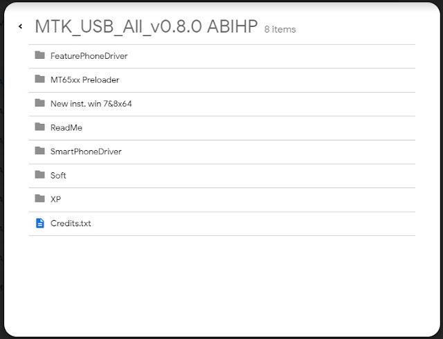 Download mtk usb driver melalui google drive.