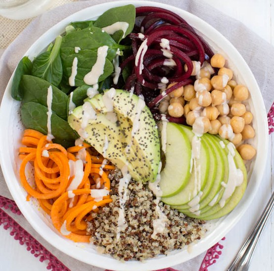 HARVEST BUDDHA BOWL WITH LEMON TAHINI DRESSING #vegetarian #lunch