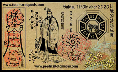 Prediksi Toto Macau Pools Sabtu 10 Oktober 2020
