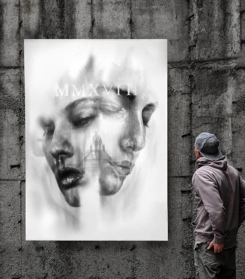 11-She-said-I-felt-Igor-Dobrowolski-Large-Oil-Paintings-Double-Exposures-www-designstack-co