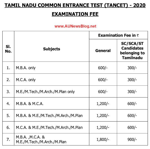 Anna University TANCET 2020 Notification & Registration details released