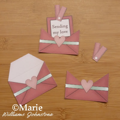 Sending my love mini envelopes with hearts