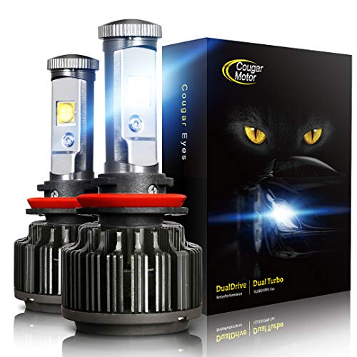 Cougar Motor Headlamps: 6000k Car Headlight LED Bulbs - Rainproof Vehicle Headlamp Set with Built-in Mini Cooling Fan