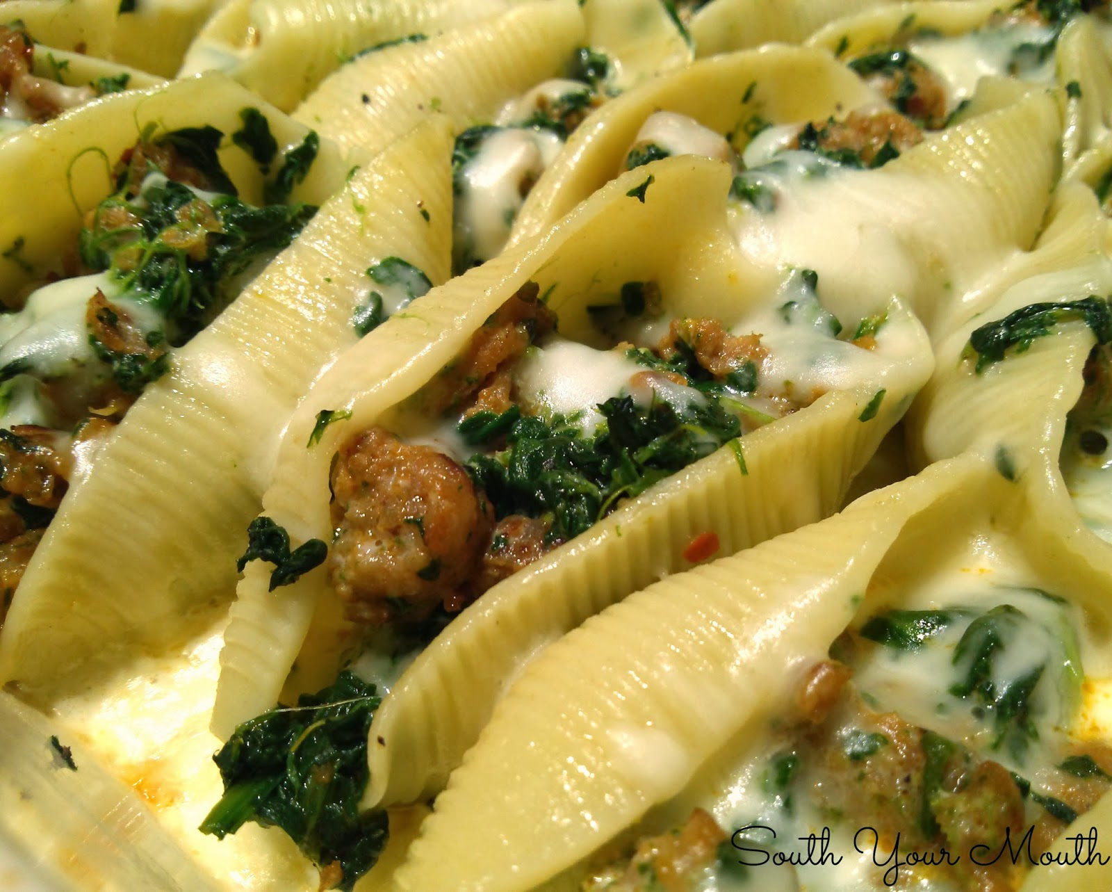 ... Your Mouth: Sausage and Spinach Stuffed Shells with Garlic Cream Sauce
