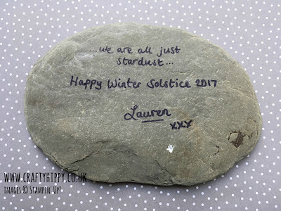 The message on the back of the Aurora Borealis Winter Solstice rock