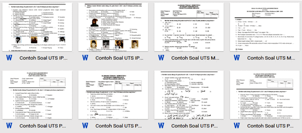 Contoh Soal UTS SD Kelas 1 2 3 4 5 6