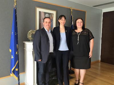 Συνάντηση της Αν. Υπουργού Τουρισμού Έλενας Κουντουρά με την Πρόεδρο και τον Γ. Γραμματέα της Ένωσης Ξενοδόχων Πιερίας