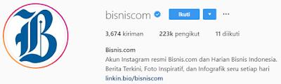 Akun Instagram bisnis terupdate