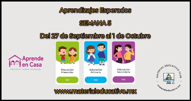 Semana 5 - Aprende en Casa 4 - Aprendizajes Esperados - Preescolar - Primaria - Secundaria