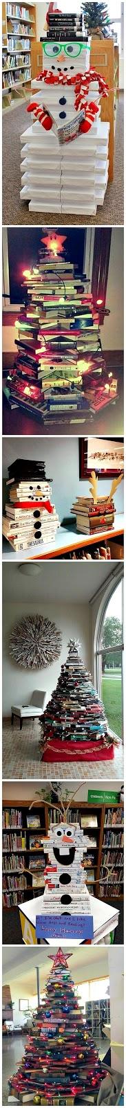 decoração de natal feita com livros