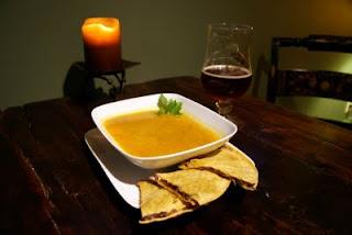 Pureed yellow tomato soup