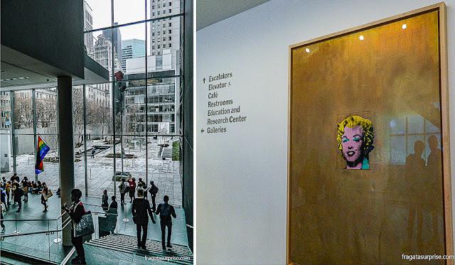 O saguão envidraçado do MoMA e uma Marilyn Monroe de Andy Warhol