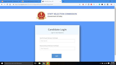 Uploading of Tentative Answer Keys along with Candidates' Response Sheet (s) of Combined Graduate Level Examination (Tier-I) – 2018