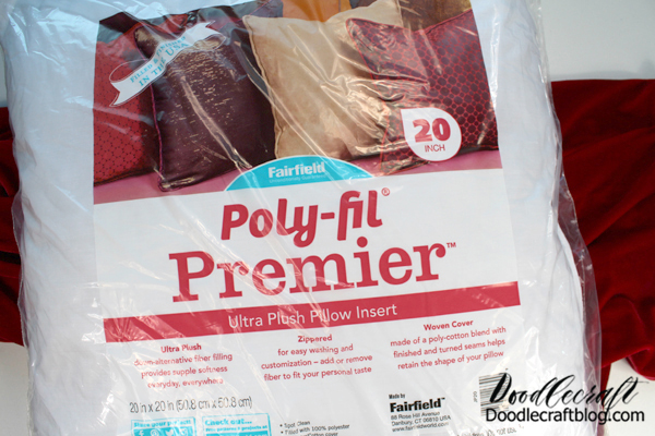 Supplies Needed for Velvet Pillow: Poly-Fil Premier Pillow Form by Fairfield 50x20 inches of Velvet Sewing Machine.